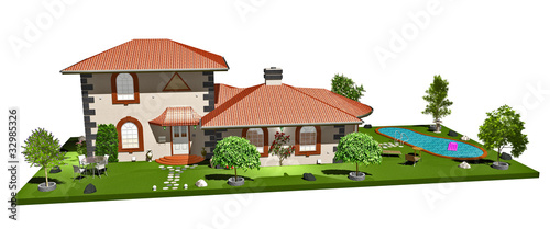 Villa Casa con Piscina-House with Pool-3d-1