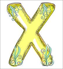 alphabet, golden  letter X