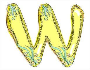 alphabet, golden  letter W