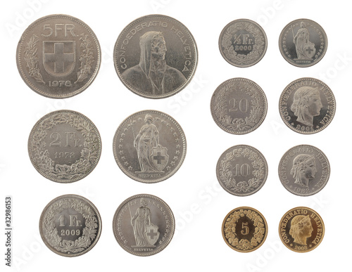 Swiss Coins Isolated on White