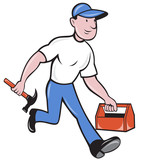 carpenter tradesman worker with hammer and toolbox poster