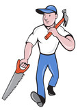 carpenter tradesman worker with hammer and saw poster