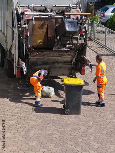 Leinwanddruck Bild Müllmänner