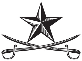 star and cross swords