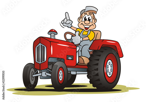 Farmer with Red Tractor - 32991930
