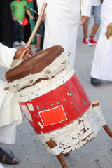 Traditional drum played by artist with vocal music Fijiri