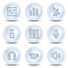 Media web icons, light blue glossy circle buttons