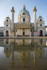 Vienna - Charles Boromeo baroque church in the morning light