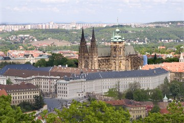 Prague - st. Vitus cathedral from Petrin