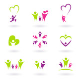 Fototapety Family, relationship and people icon collection - green, pink