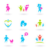 Family, mother and maternity icons - isolated on white poster