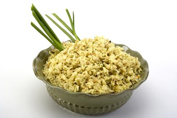 Rice Pilaf in a green ceramic dish