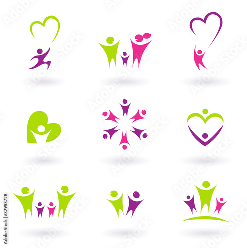 Family, relationship and people icon collection - green, pink