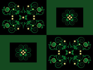 pattern with flower on square background