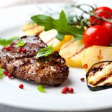 Grilled steak with grilled vegetables
