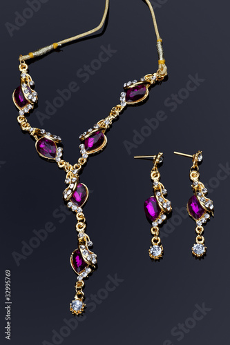Purple Colored Diamond Necklace and Earrings