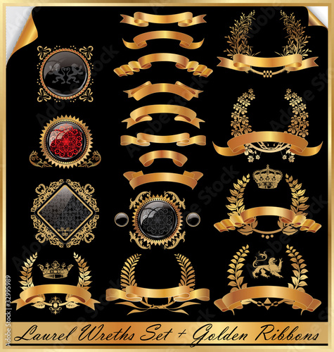 Golden Laurel Wreaths Set