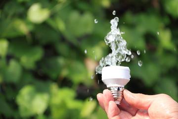 Ecological concept symbolizing renewable energy, hydropower