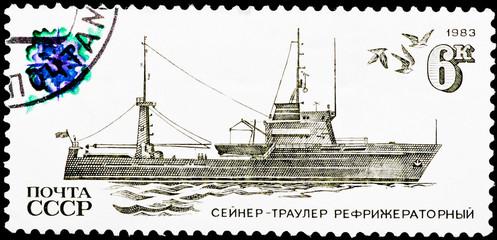 Postal stamp. Seine-trawler refrigerator, 1983