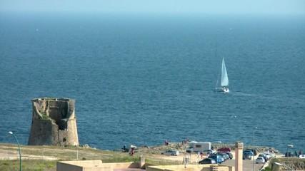 panorama di santa cesarea terme, barca a vela,porto miggiano