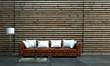 Rotes Sofa cor Holzwand mit weissen Kissen