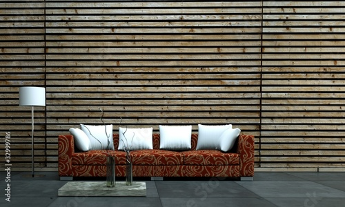 fototapete holzwand rotes sofa cor holzwand mit weissen kissen. Black Bedroom Furniture Sets. Home Design Ideas