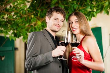 Winetasting in restaurant