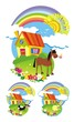 Collection of country backgrounds. Vector illustration.
