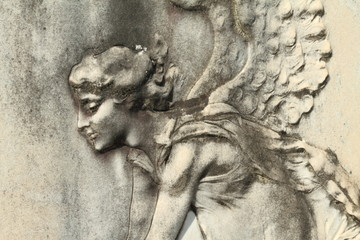 antique angelic relief