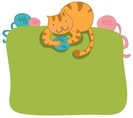 gatto con gomitoli cornice