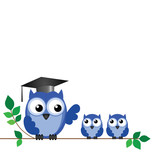 Fototapety Owl teacher and pupils sat on a tree branch