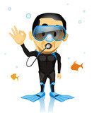 Scuba diver waving ok around fish