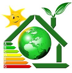Certificazione energia con globo terrestre e sole