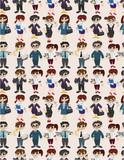 seamless cartoon office worker pattern.