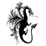Drago Tatuaggio Silhouette Sagoma-Dragon Drake Tattoo Shape poster