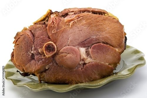 Ham on a ceramic dish