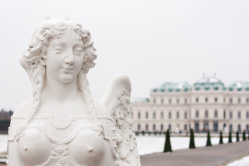 Statue of sphinx in the gardens of the  Belvedere