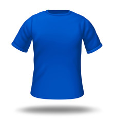 Single blue t-shirt isolated