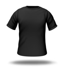 Single black t-shirt isolated