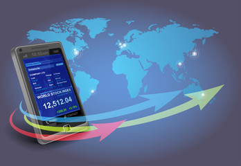 Smartphone with financial applications of stock exchange quotes