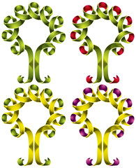 Tree symbol created of ribbon, set of color versions.