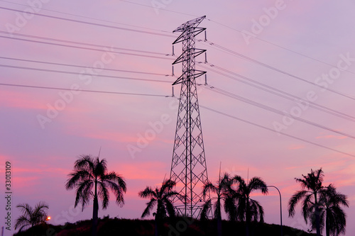 pylon tower sunset