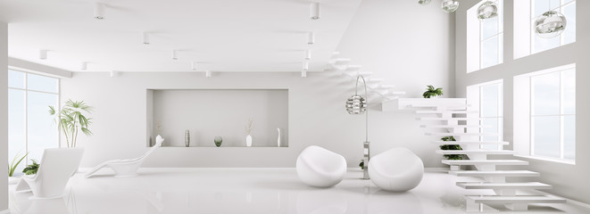 Weiss interior mit treppe panorama 3d render