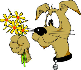 Cartoon image of a dog holding a bunch of flowers.