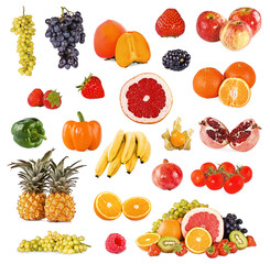 Set of fruits and vegetable on white background