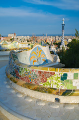 Famous mosaic bench in Guell park in Barcelona