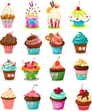 Fototapety Set of cupcake