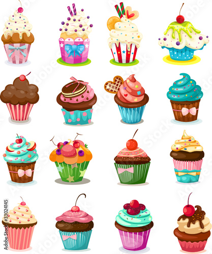 Wall mural Set of cupcake