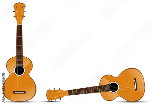 set of classical acoustic guitar isolated on white background