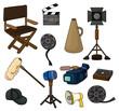 cartoon movie equipment icon set.